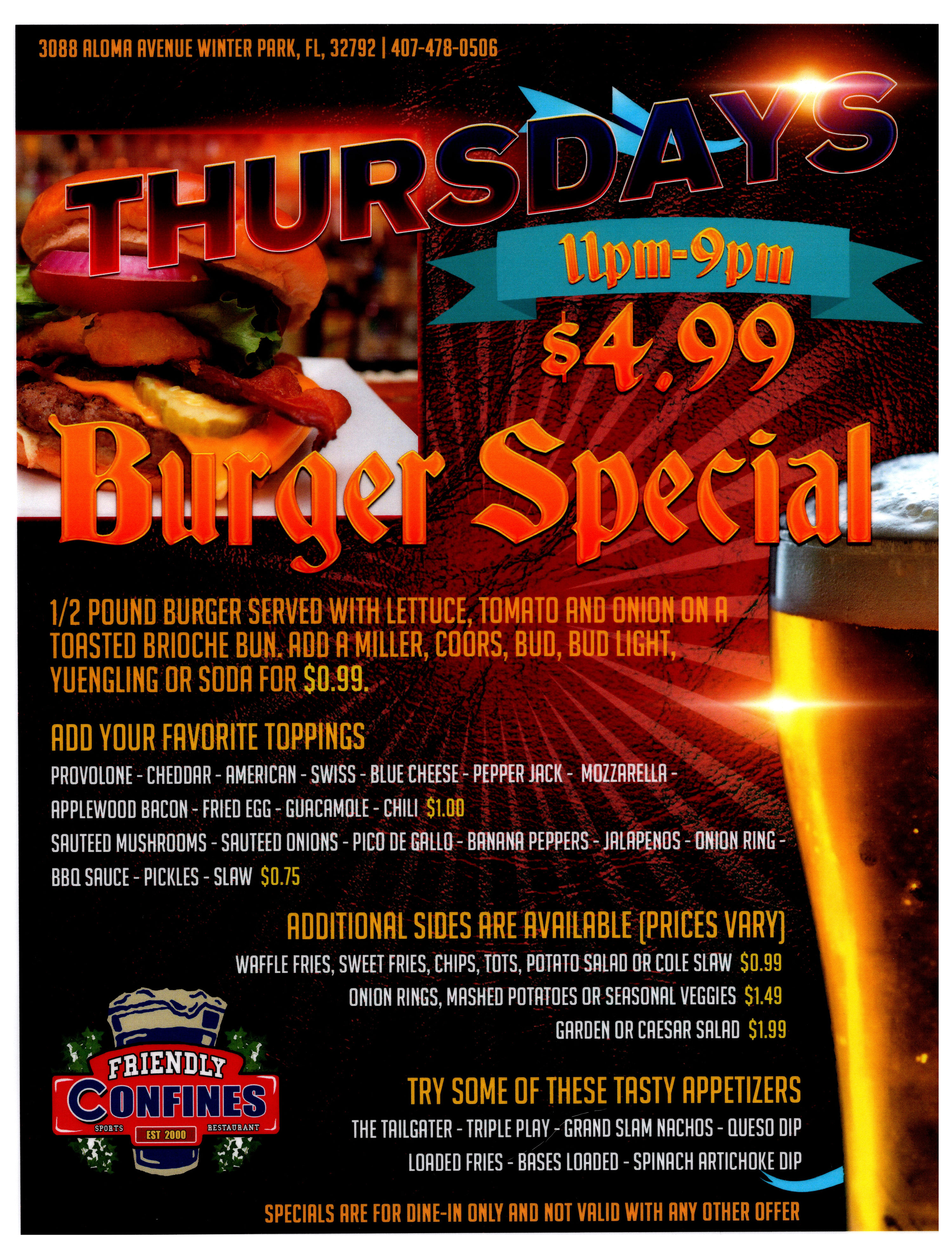 Burger Special Thursdays at Winter Park Friendly Confines Sports Restaurant and Bar