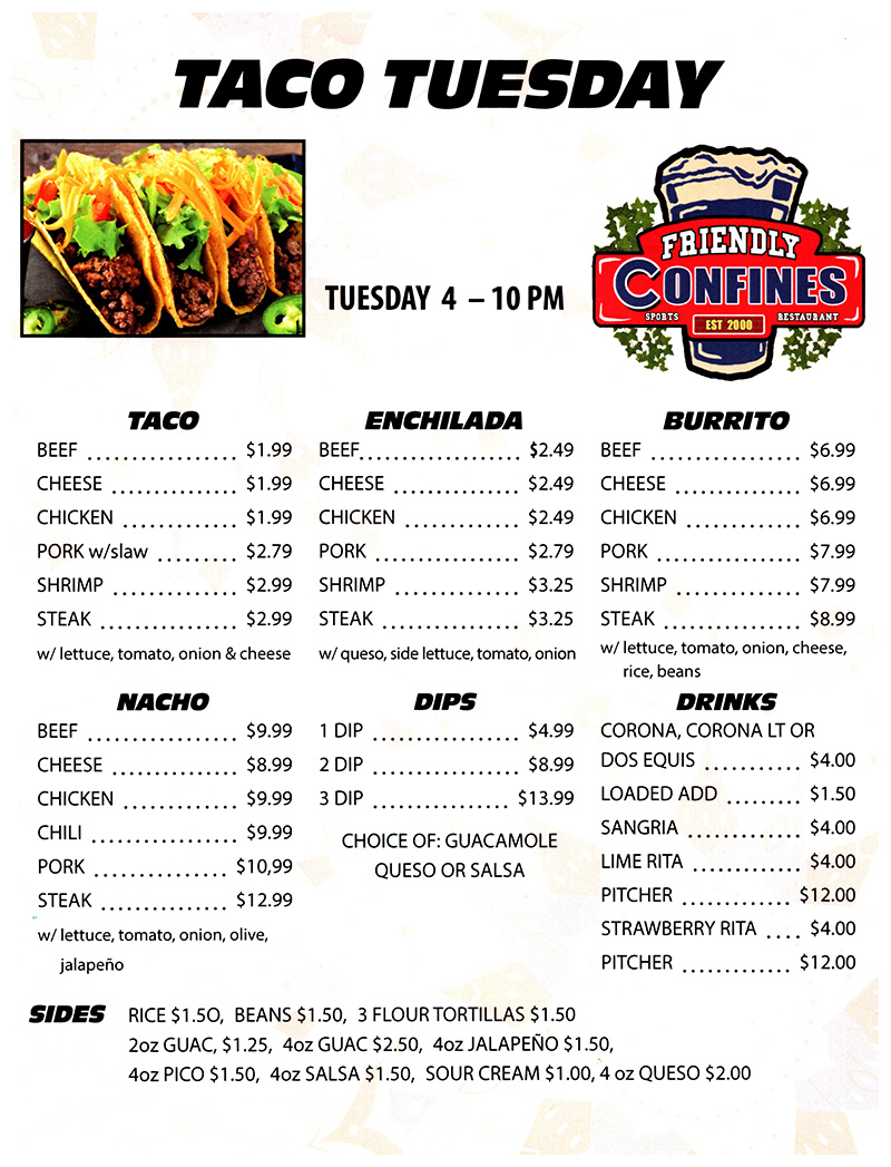 Taco Tuesdays at My Friendly Confines Restaurant Altamonte Mall