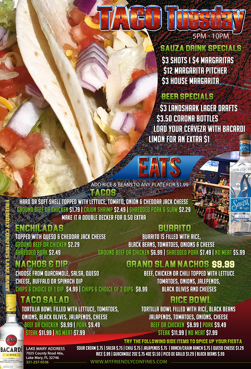 Taco Tuesdays at My Friendly Confines Lake Mary Sports Bar and Restaurant