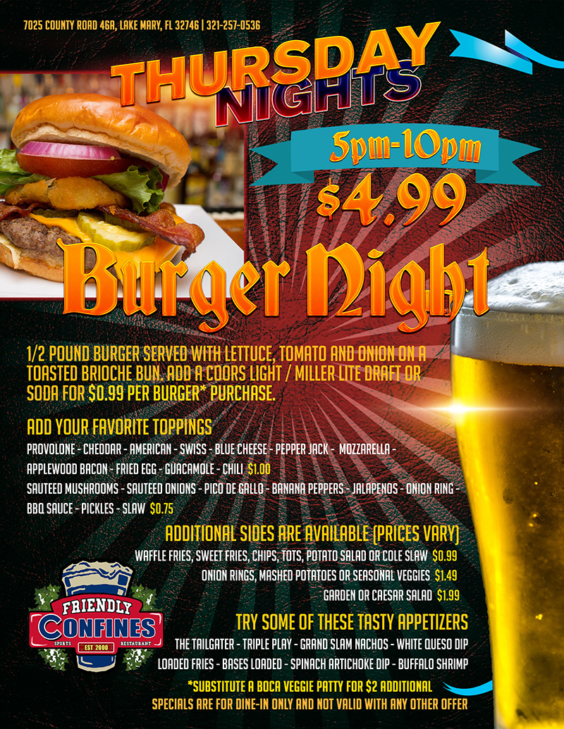 Thursday Burger Night at My friendly Confines Sports Bar and Restaurant Lake Mary