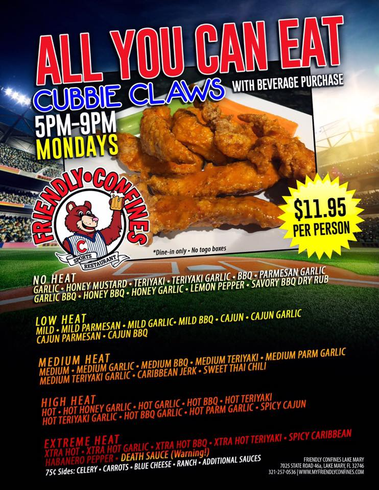 All you can eat Cubbie Claws Mondays at Lake Mary Sports Bar