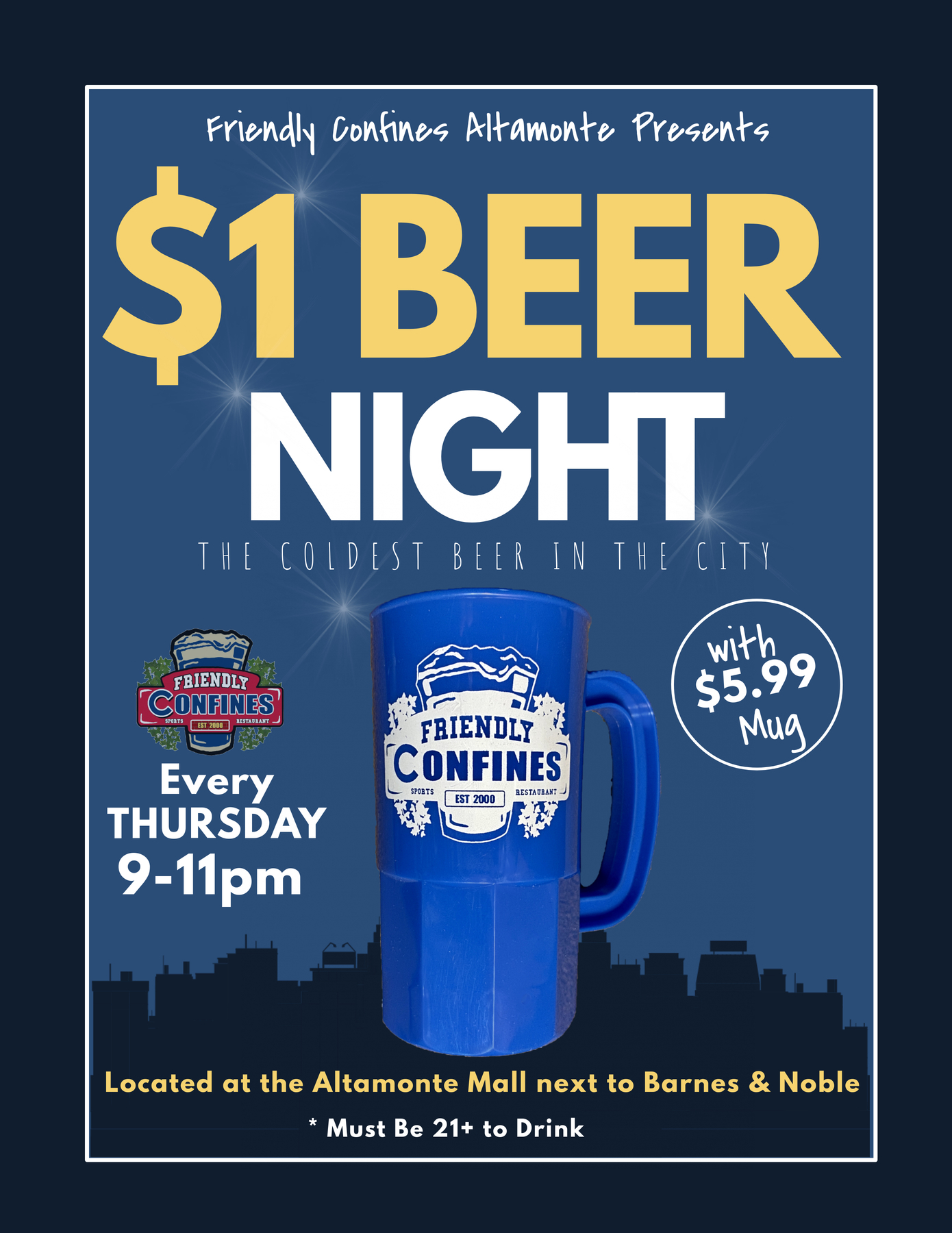 $1 Beer special Thursdays at Altamonte My Friendly Confines Restaurant and Bar